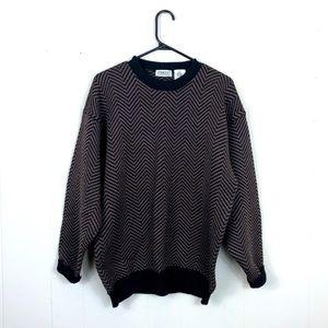 Vintage Wool Herringbone Crewneck Sweater Sz L